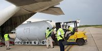 Loading of Fuel Tank in C-130 at Entebbe International Airport
