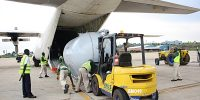 Entebbe Handling Services Loading Fuel Tank in C-130