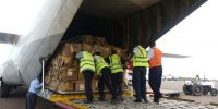 Palletized Cargo being pushed from the Ramp